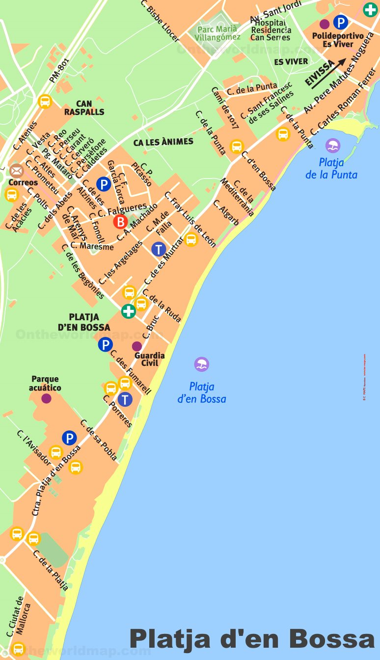 Playa D En Bossa Mapa.Platja D En Bossa Tourist Map
