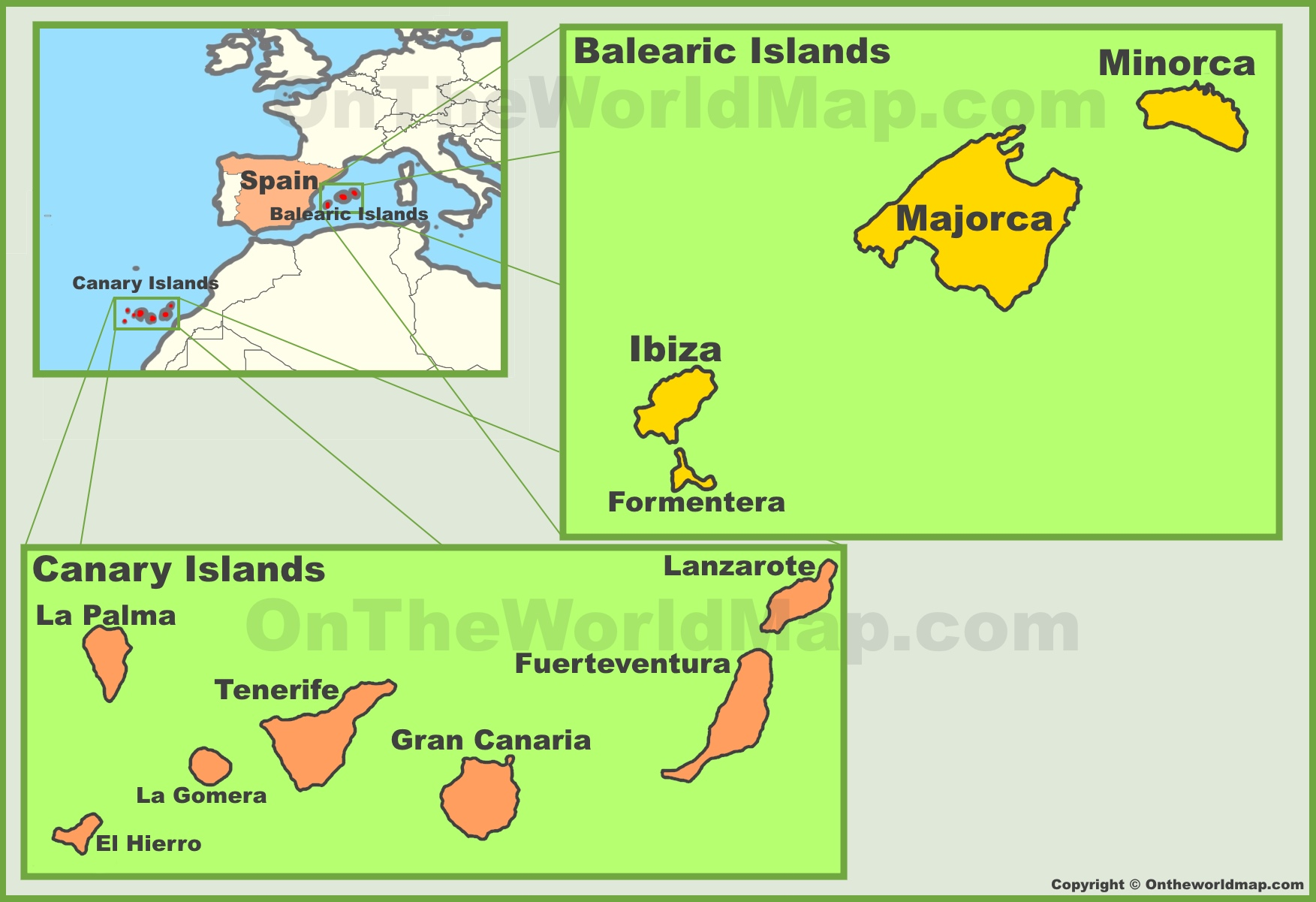 Spanish Map Of Spain.Spanish Islands Maps List Of Islands In Spain