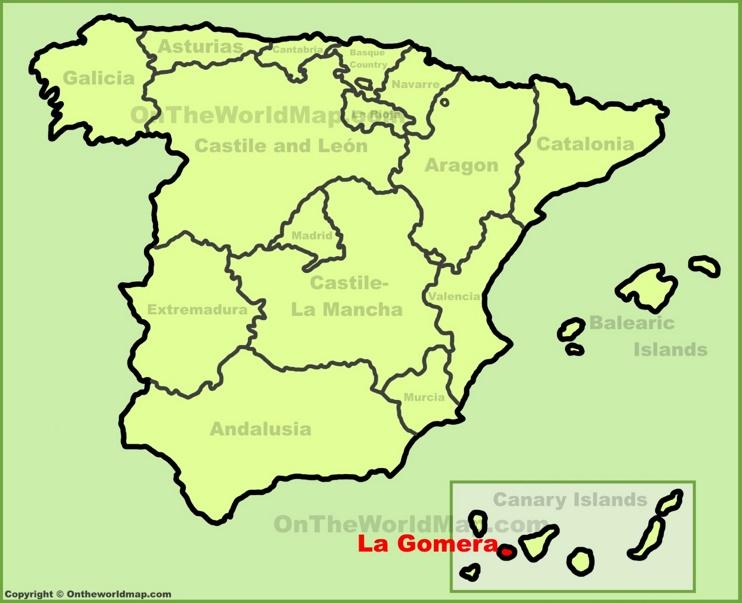 La Gomera en el mapa de España
