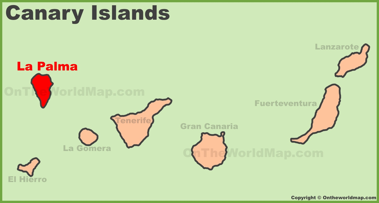 La Palma location on the Canaries map