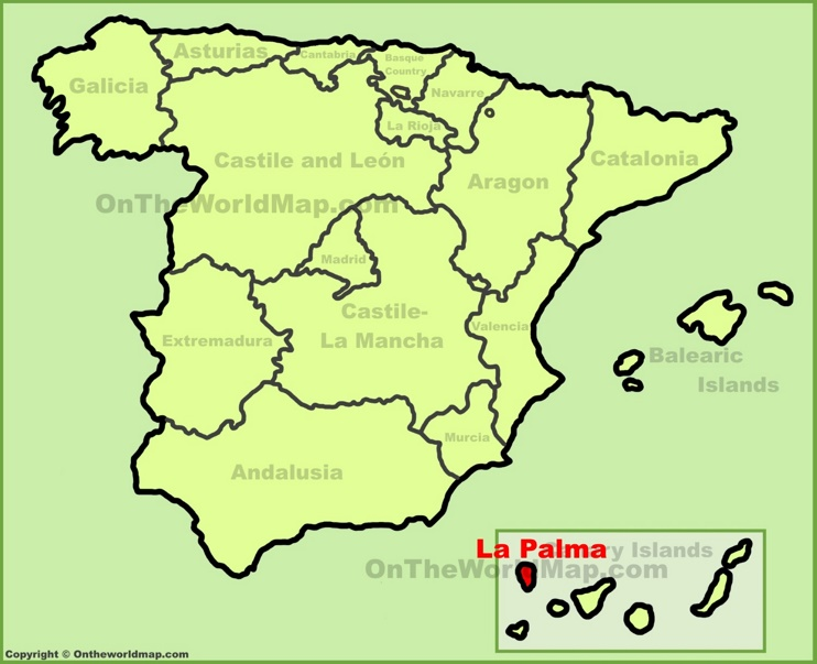 La Palma location on the Spain map