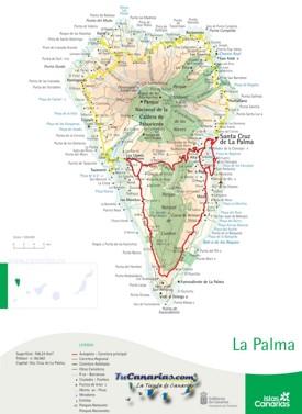 La Palma carreteras mapa
