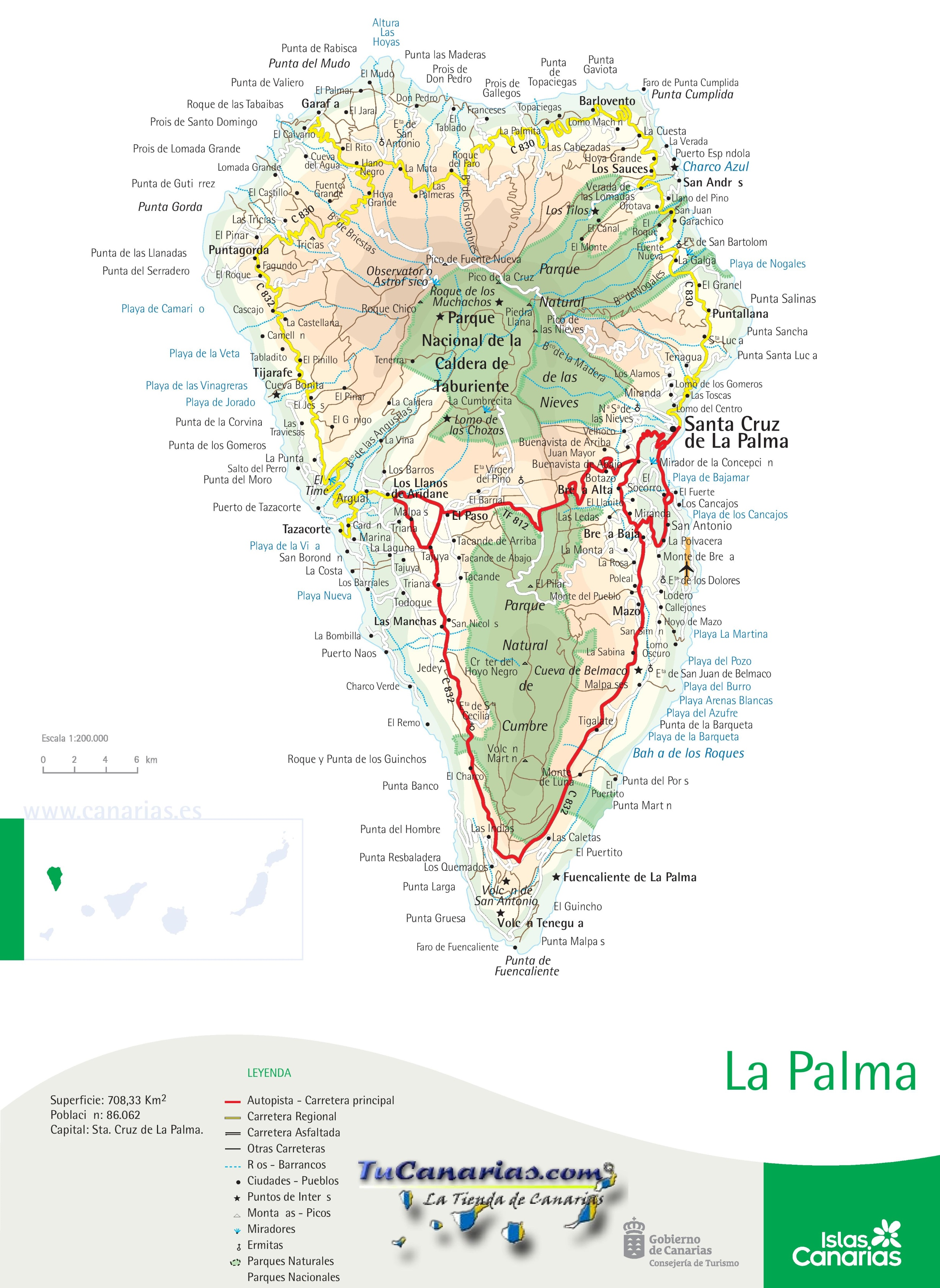 Road Map Of La Palma Canary Islands