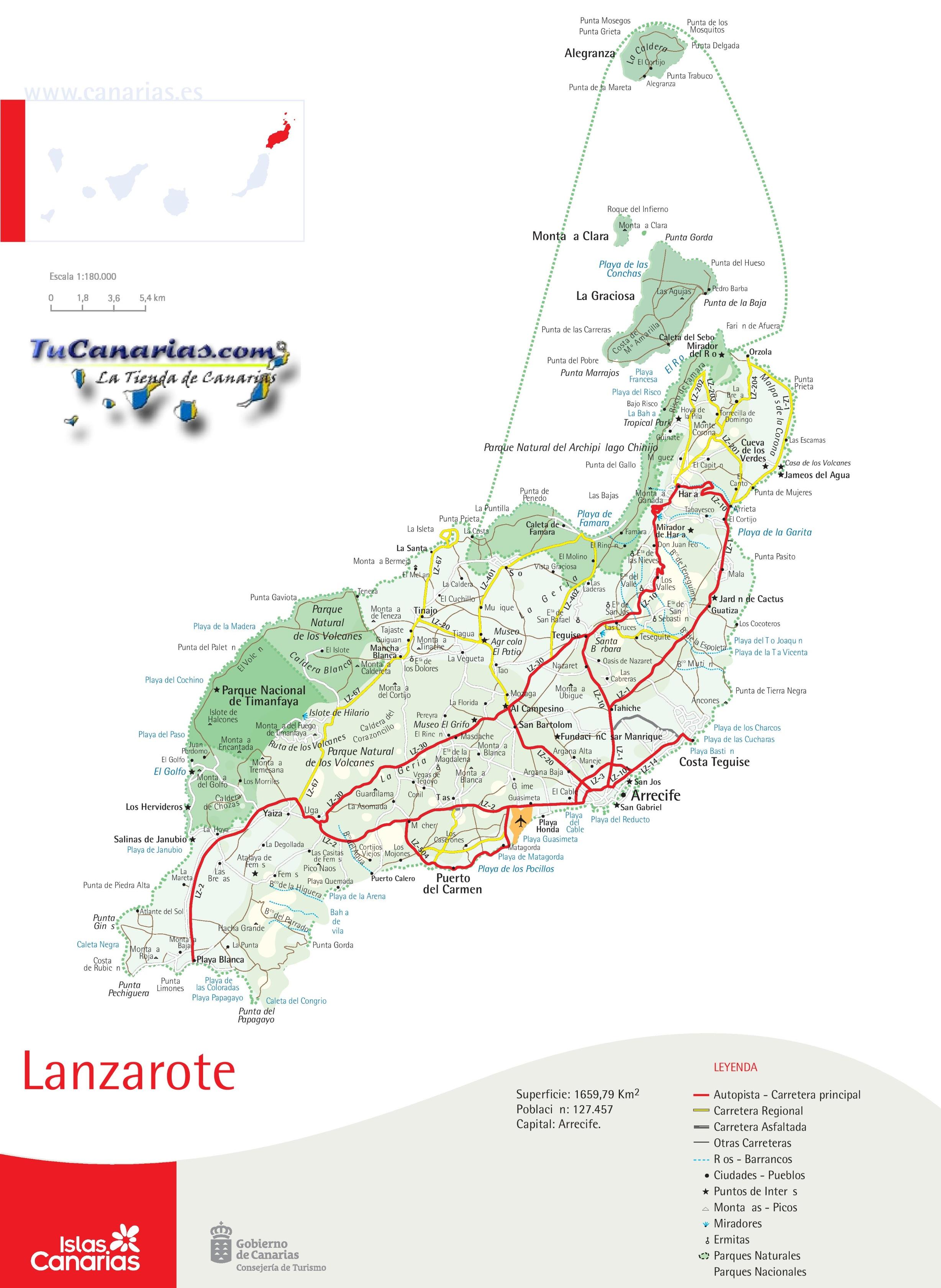 Map Of Lanzarote Lanzarote road map Map Of Lanzarote