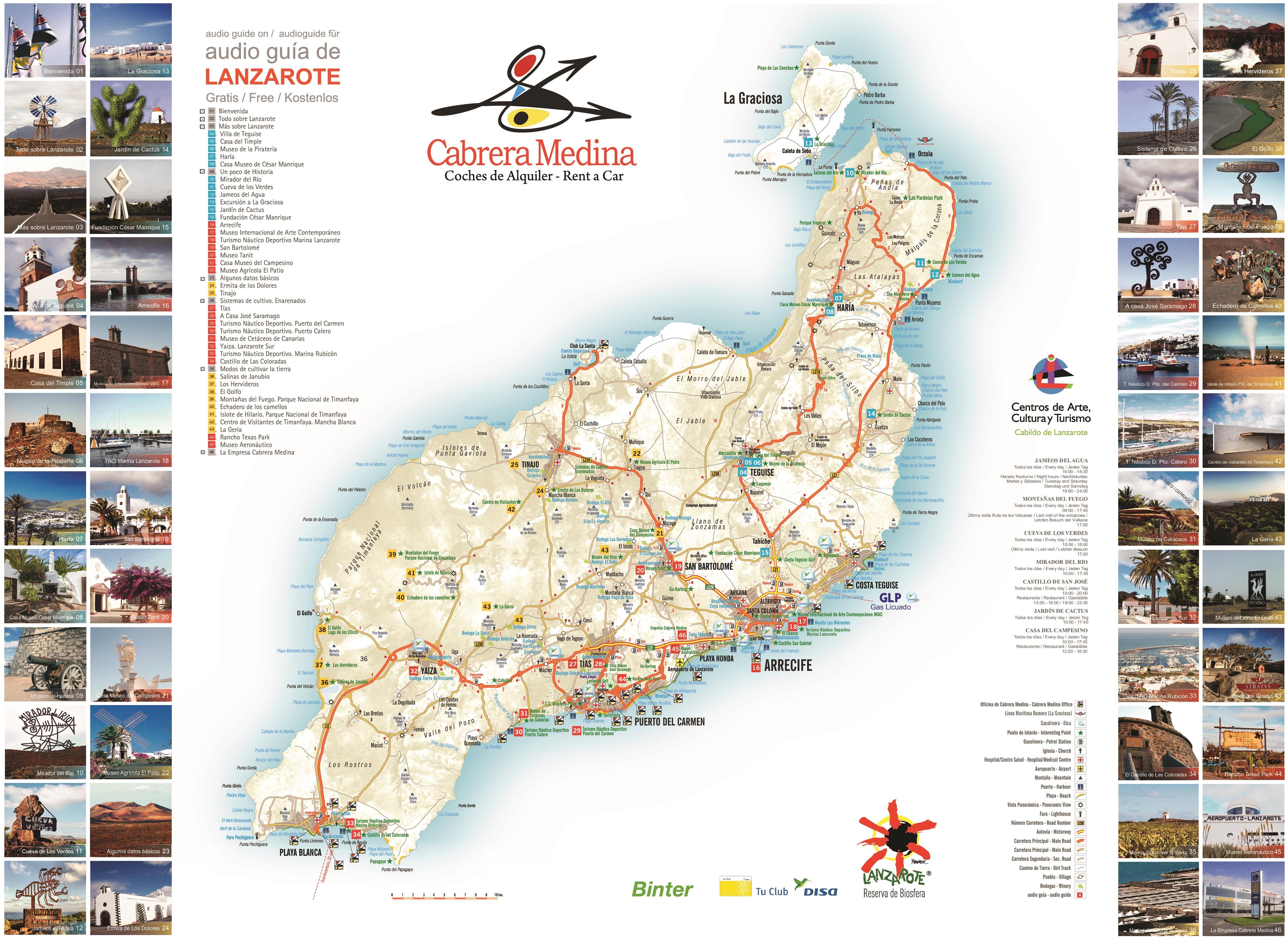 Map Of Lanzarote Lanzarote tourist map Map Of Lanzarote