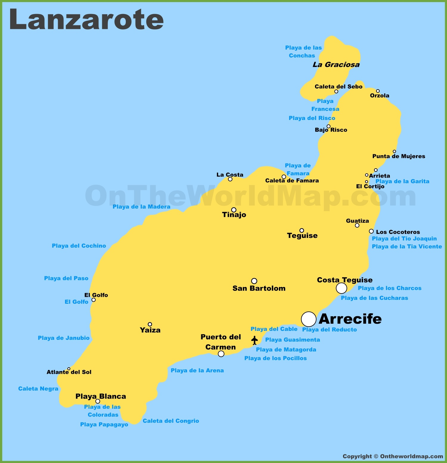 Lanzarote Maps Canary Islands Spain Map of Lanzarote