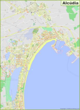 Large detailed map of Alcúdia