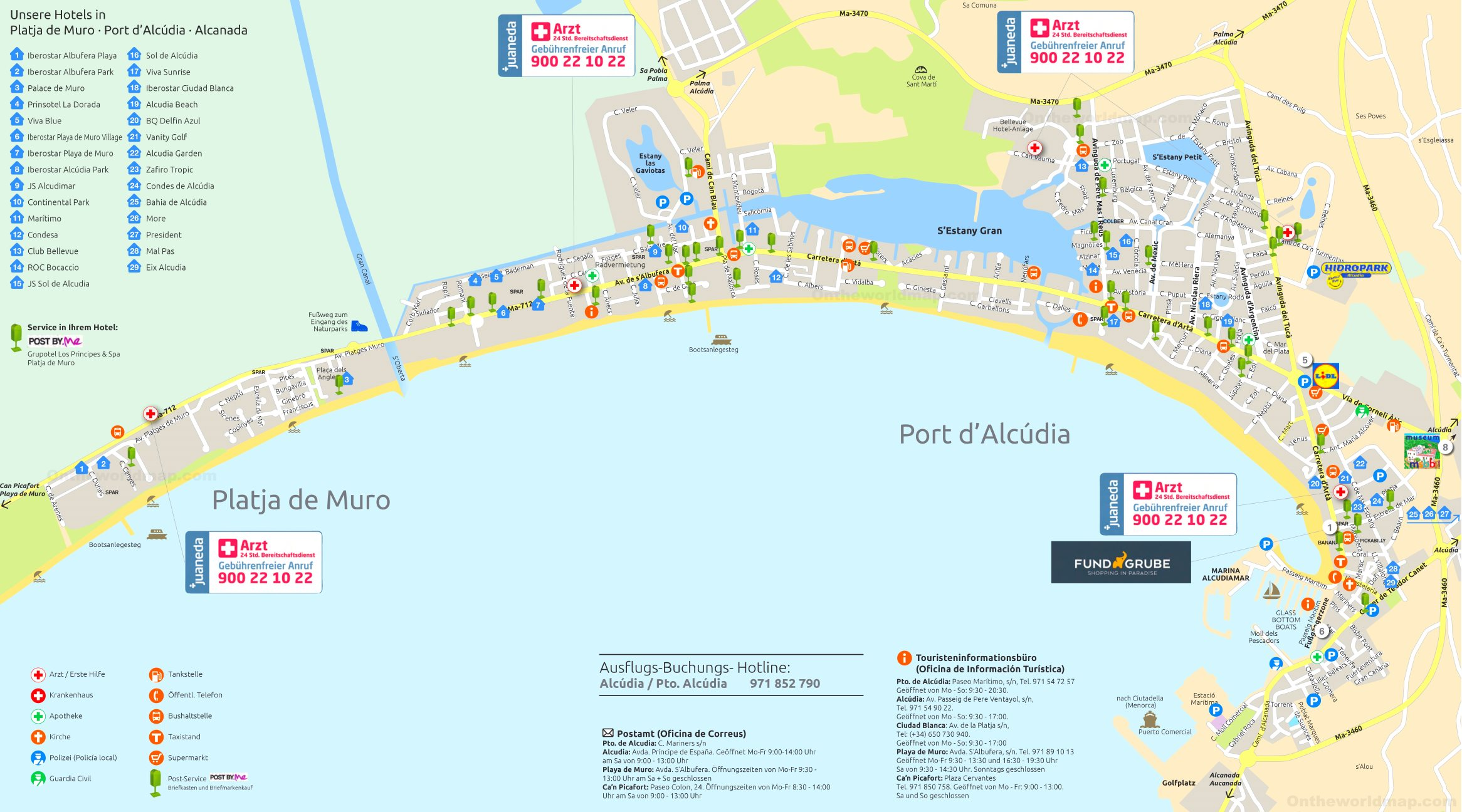 Playa De Muro Karte.Port D Alcudia And Playa De Muro Map