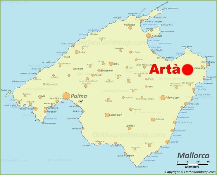 Artà en el mapa de Mallorca