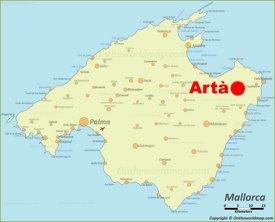 Artà location on the Majorca map