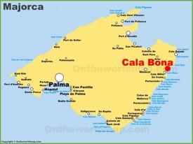 Cala Bona location on the Majorca map