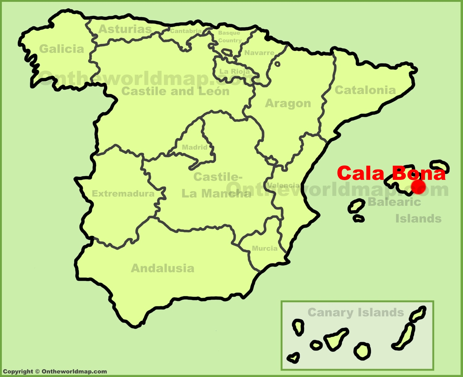 Cala Bona location on the Spain map