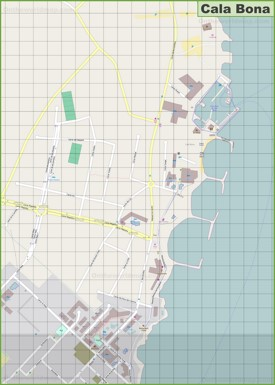 Large detailed map of Cala Bona