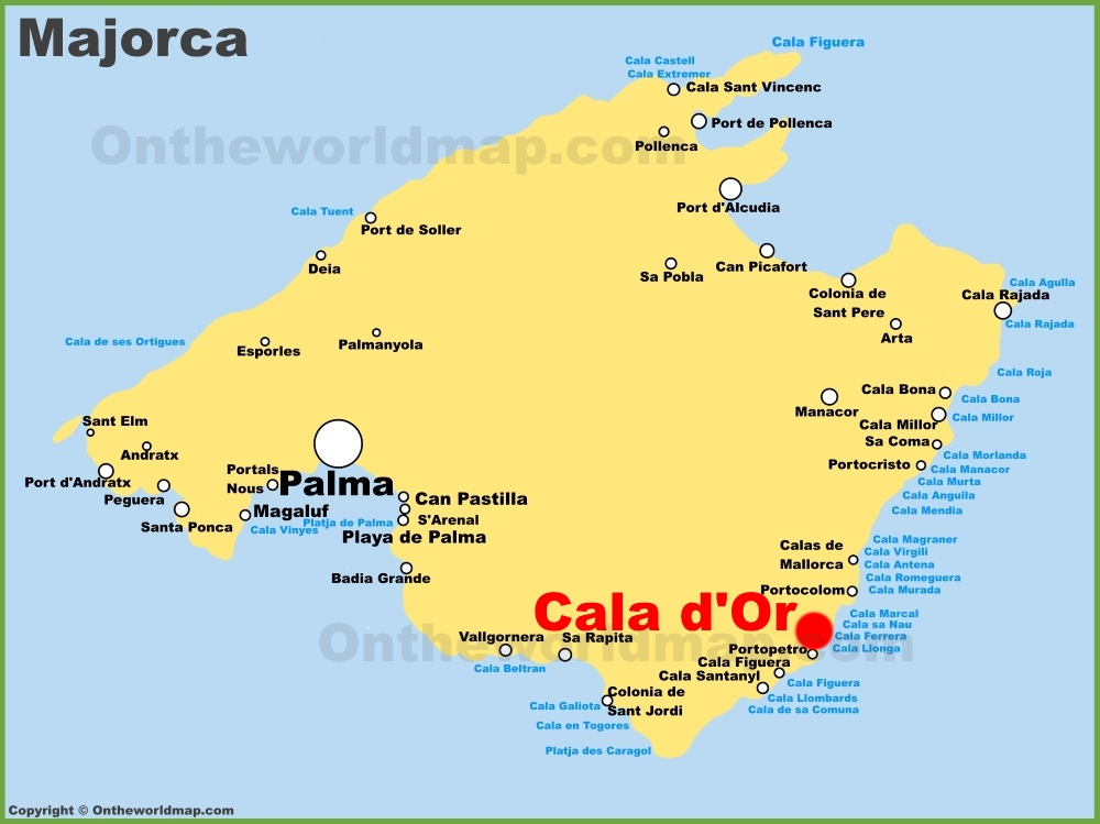 Map Of Cala D Or Cala d'Or location on the Majorca map Map Of Cala D Or