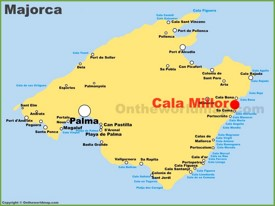 Cala Millor location on the Majorca map