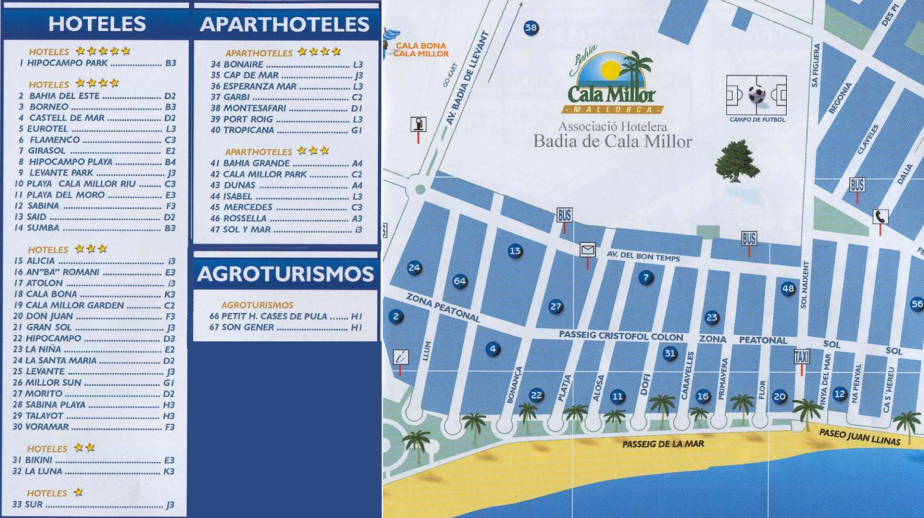 Cala Millor tourist map