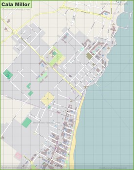 Large detailed map of Cala Millor