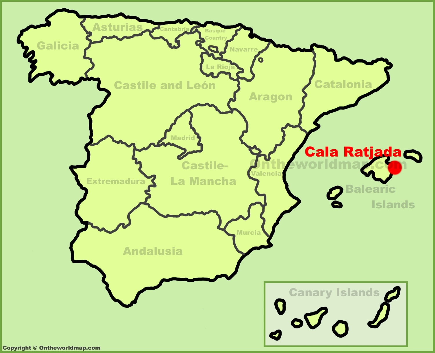 Cala Ratjada location on the Spain map
