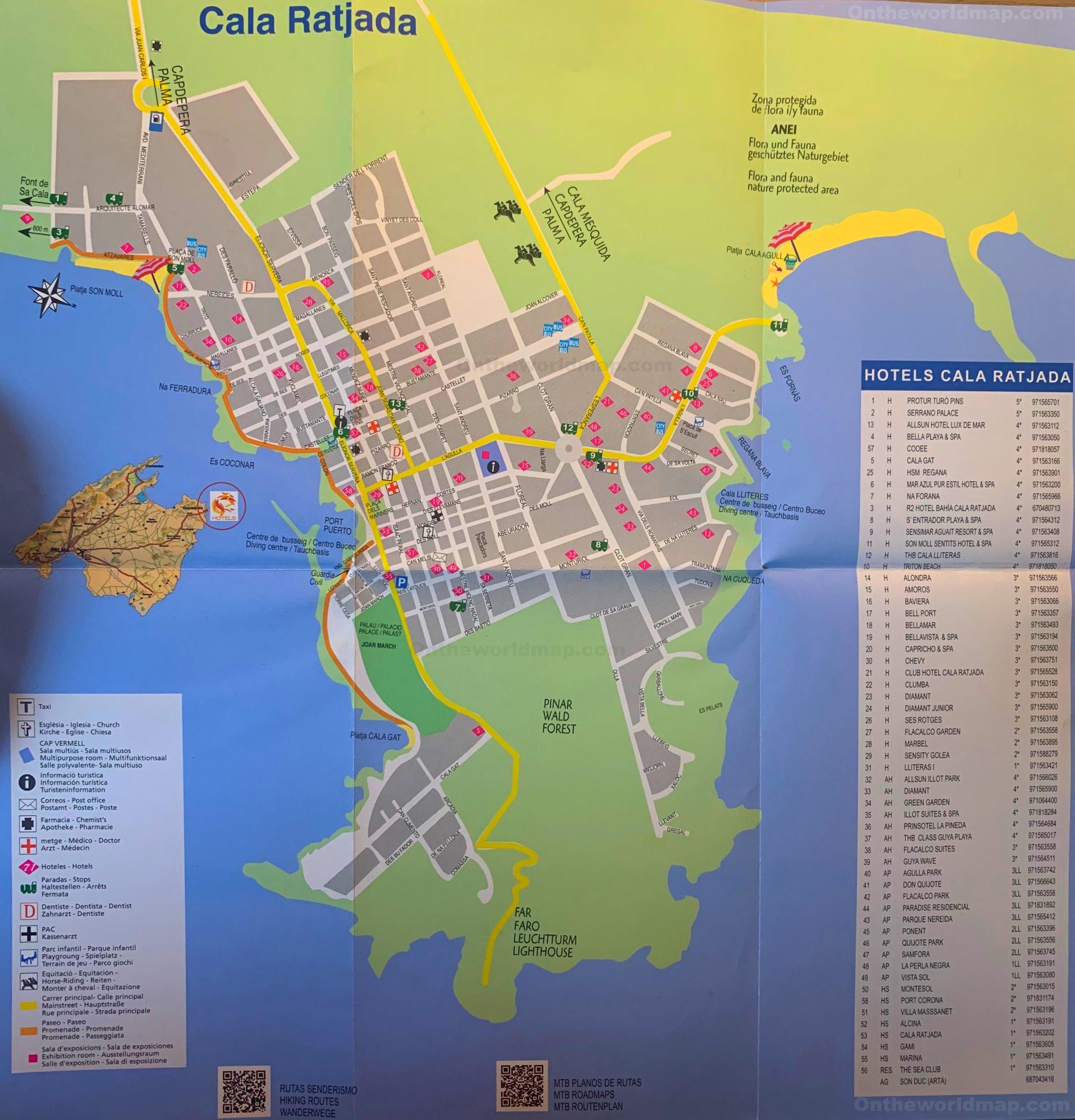 Cala Ratjada Karte.Cala Ratjada Tourist Map