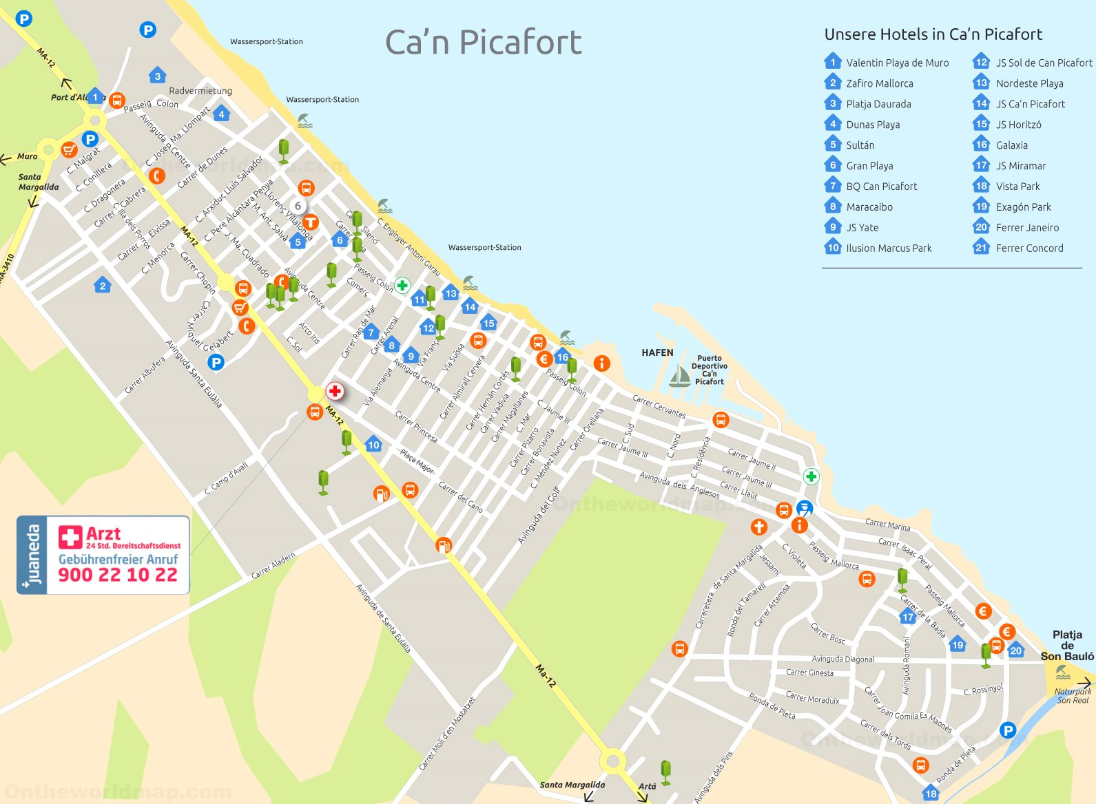 Can Picafort Map Can Picafort Hotel Map