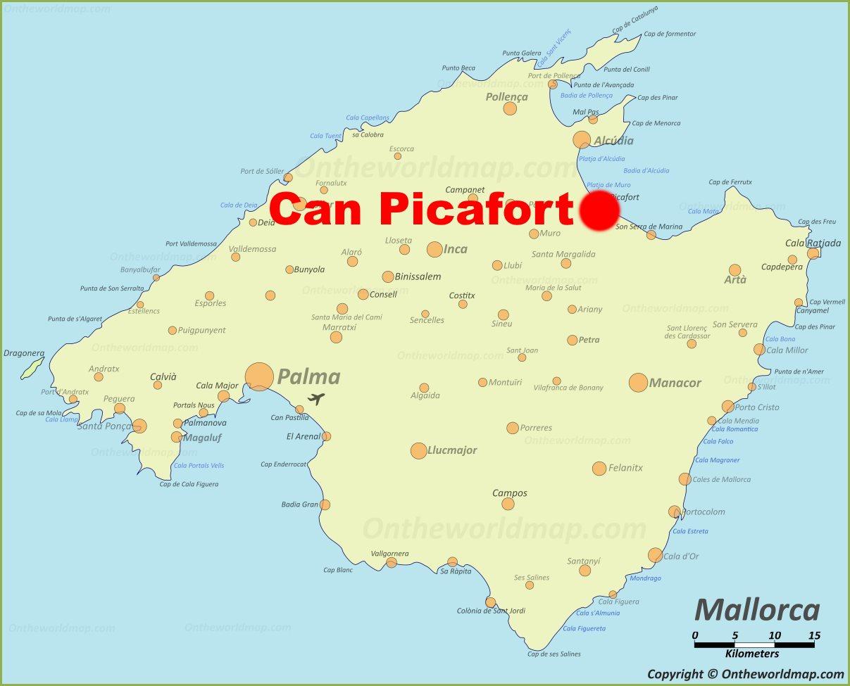 Playa De Muro Karte.Can Picafort Location On The Majorca Map