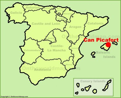 Can Picafort Location Map