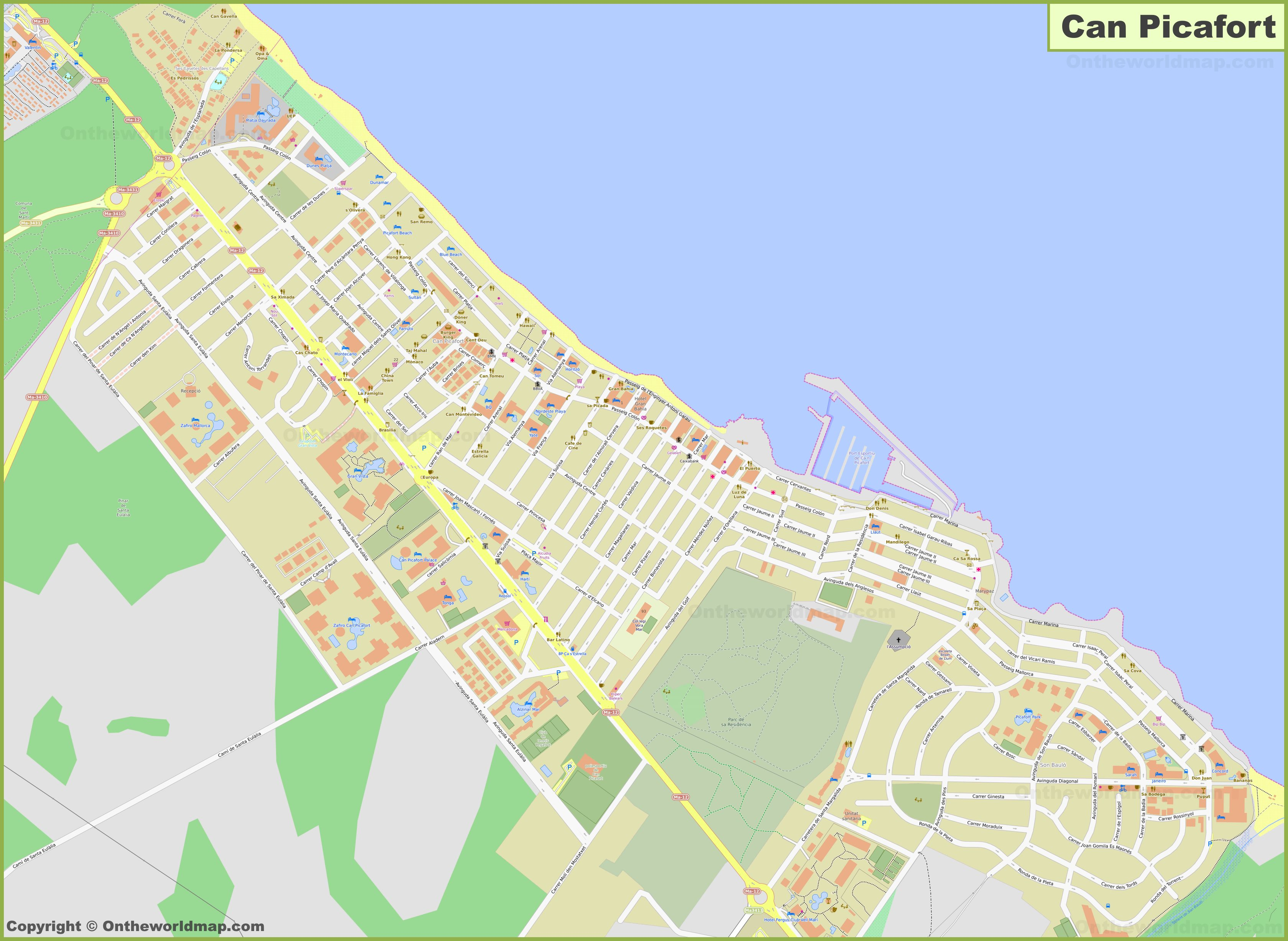 Detailed Map Of Can Picafort
