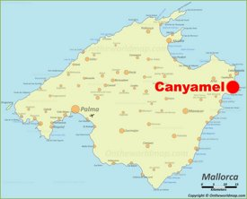 Canyamel location on the Majorca map