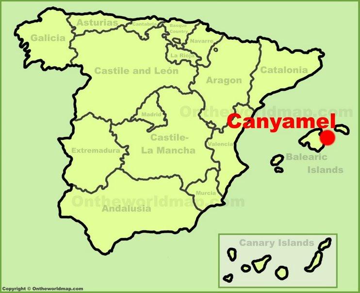 Canyamel en el mapa de España