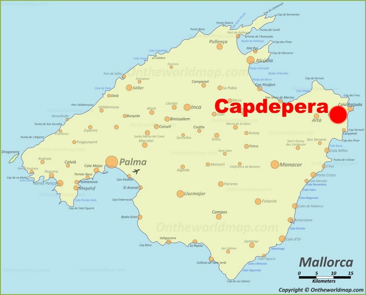 Capdepera location on the Majorca map