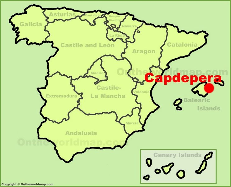 Capdepera location on the Spain map