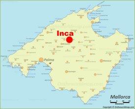 Inca en el mapa de Mallorca