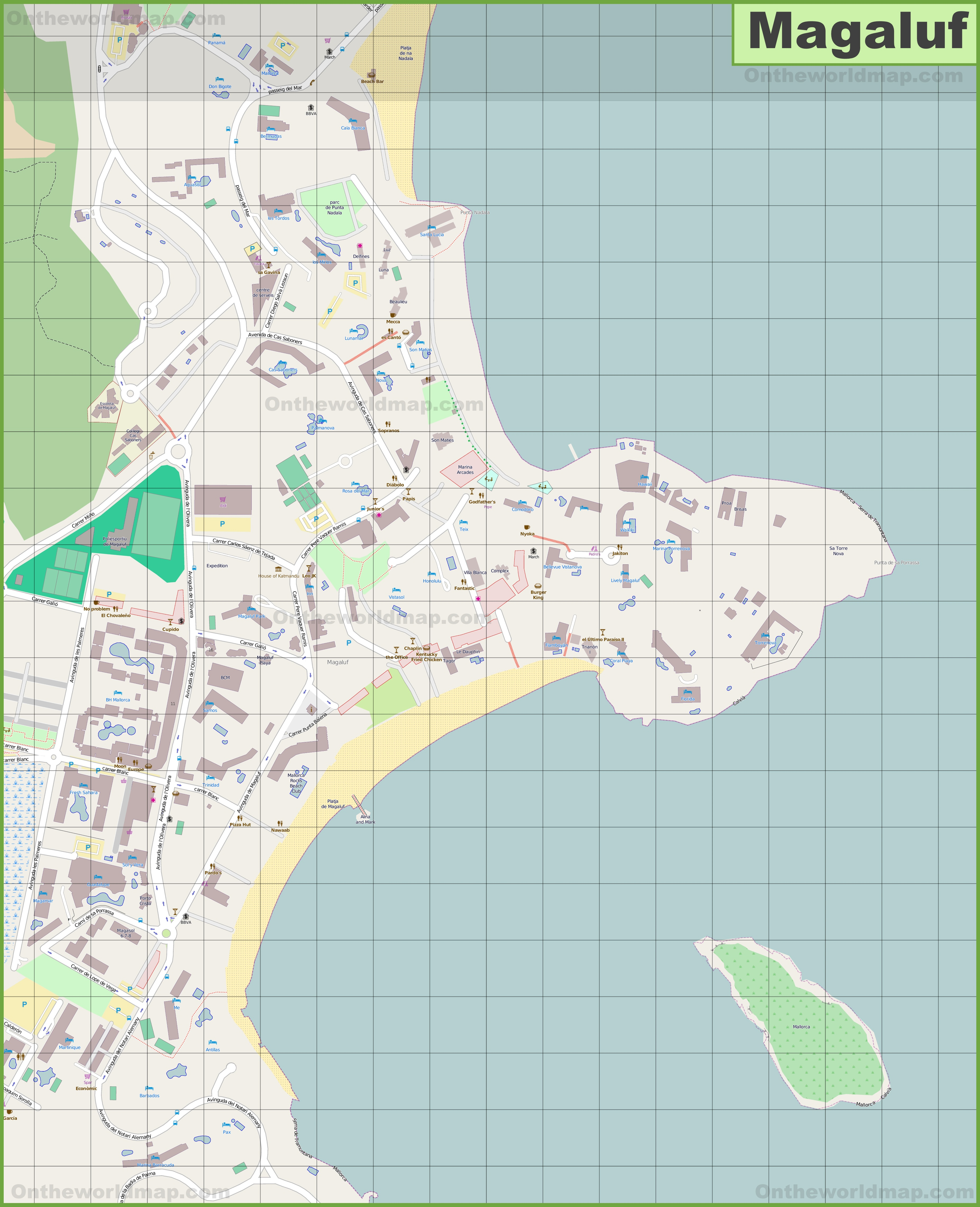 Map Of Magaluf Large detailed map of Magaluf