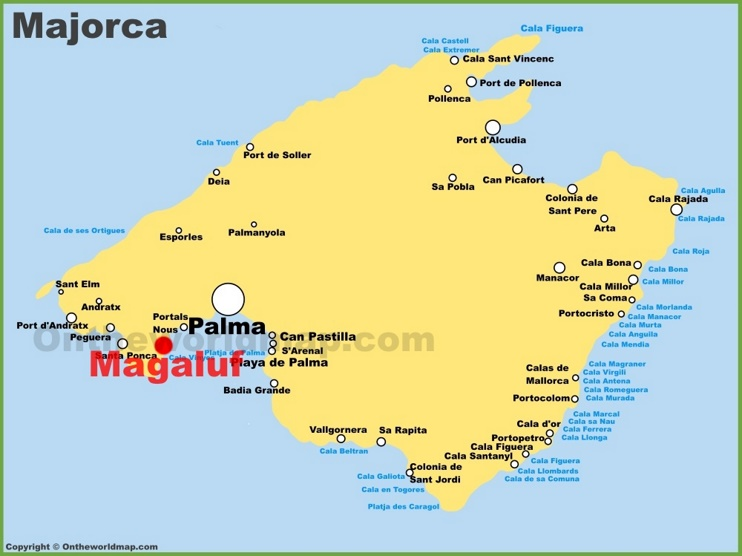 Magaluf location on the Majorca map