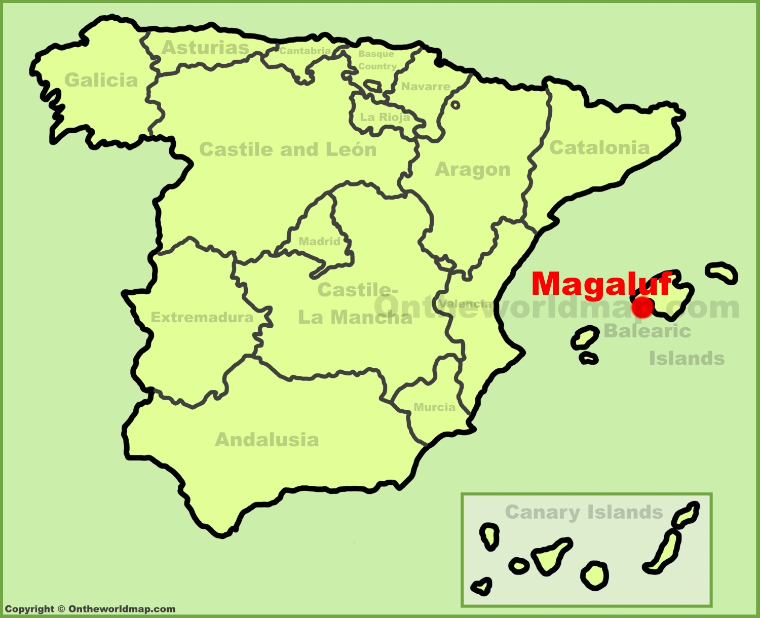 Magaluf location on the Spain map