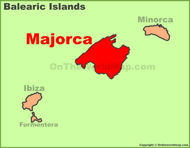 Majorca location on the Balearic Islands map