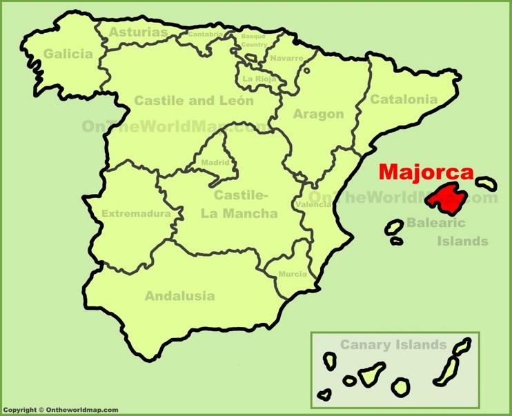 Majorca location on the Spain map