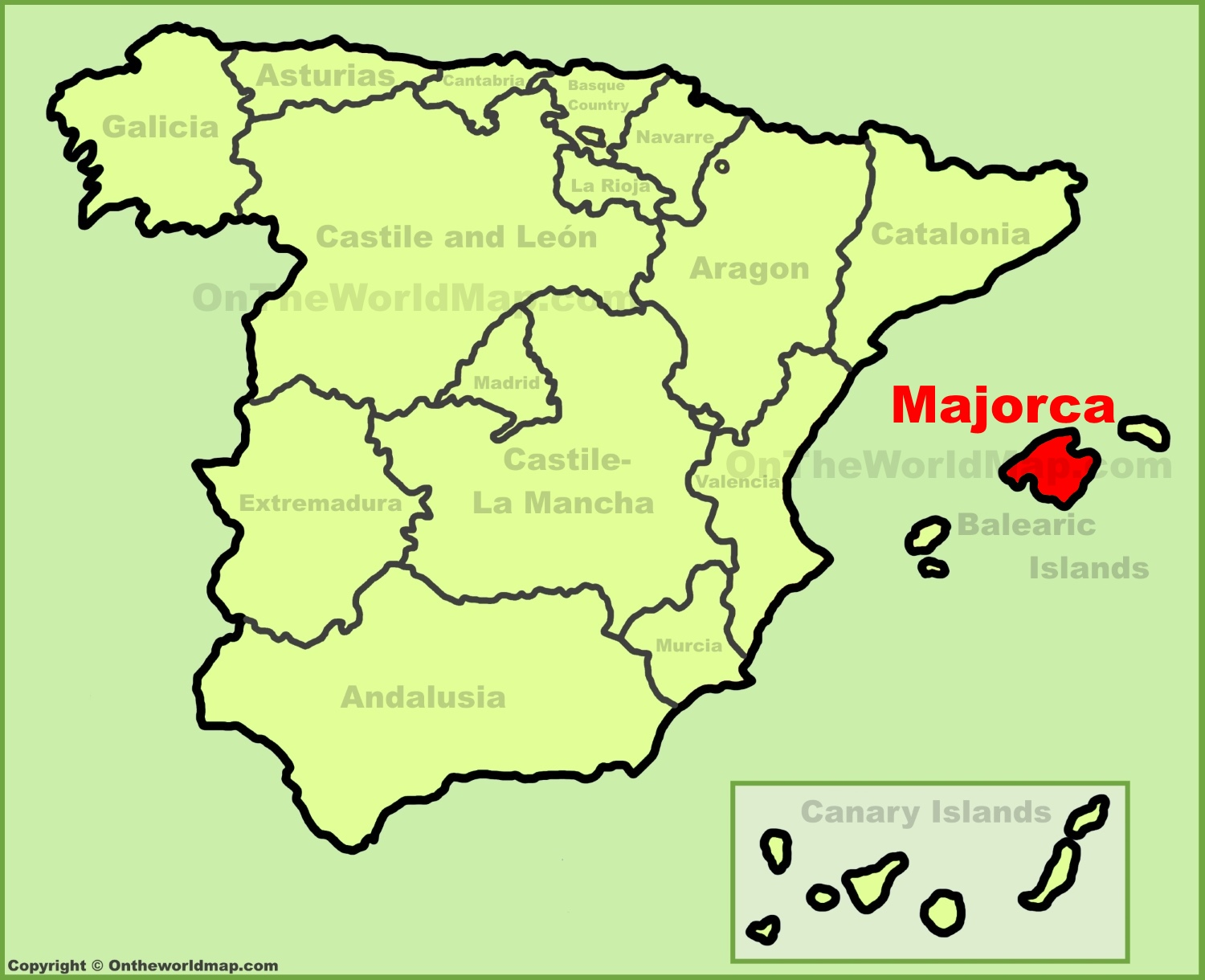 Map Of Spain And Majorca.Majorca Location On The Spain Map