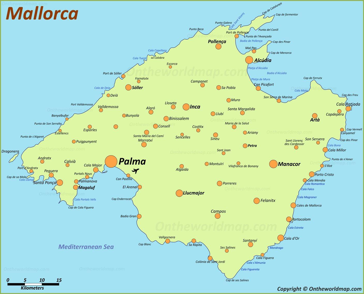 Mapa Carreteras De Mallorca.Mallorca Mapa Islas Baleares Espana Mapa De Mallorca
