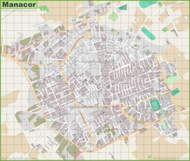 Large detailed map of Manacor