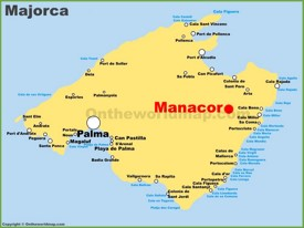 Manacor location on the Majorca map