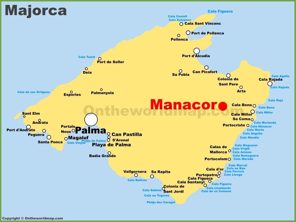 Manacor location on the Majorca map