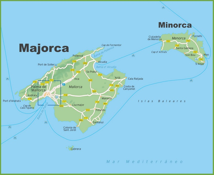 Map of Majorca and Minorca