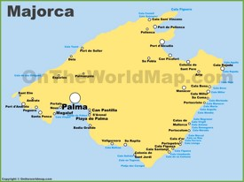 Majorca Calas and Resorts Map
