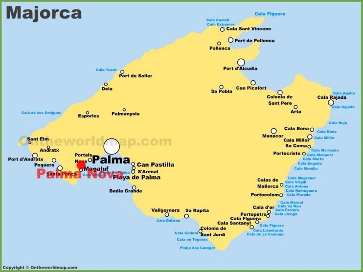 Palma Nova location on the Majorca map