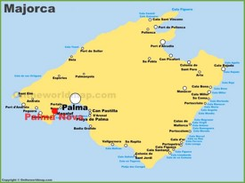 Palma Nova location on the Majorca map