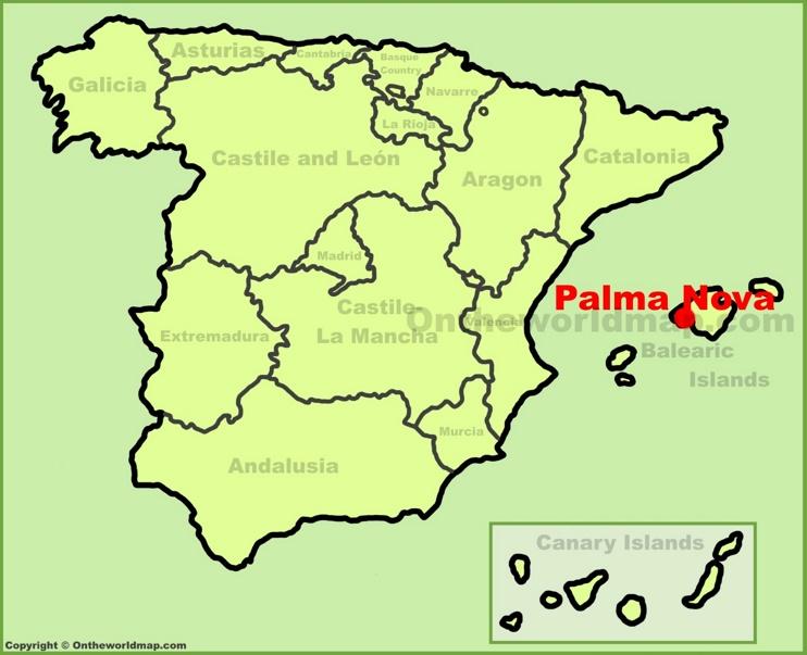 Palmanova en el mapa de España