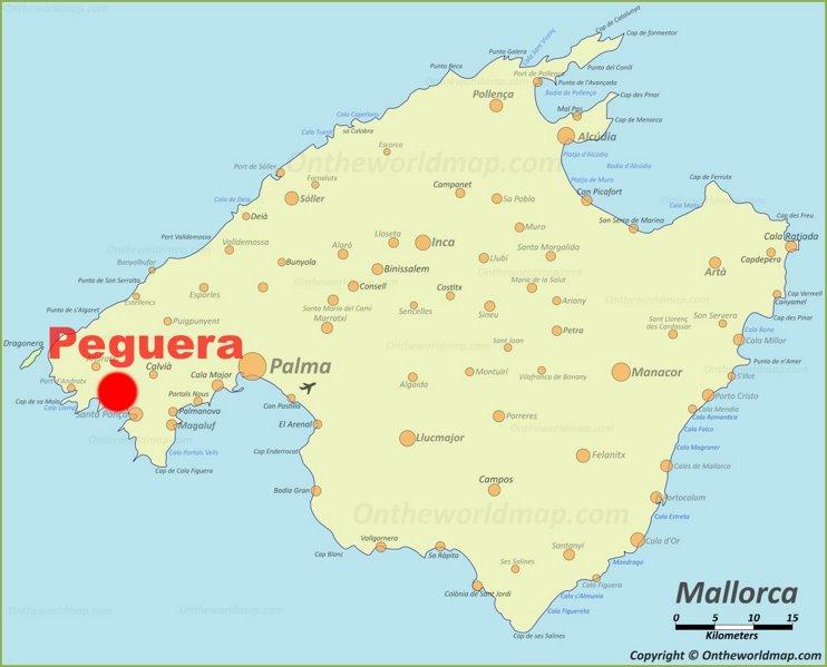 Peguera location on the Majorca map
