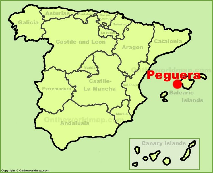 Peguera location on the Spain map