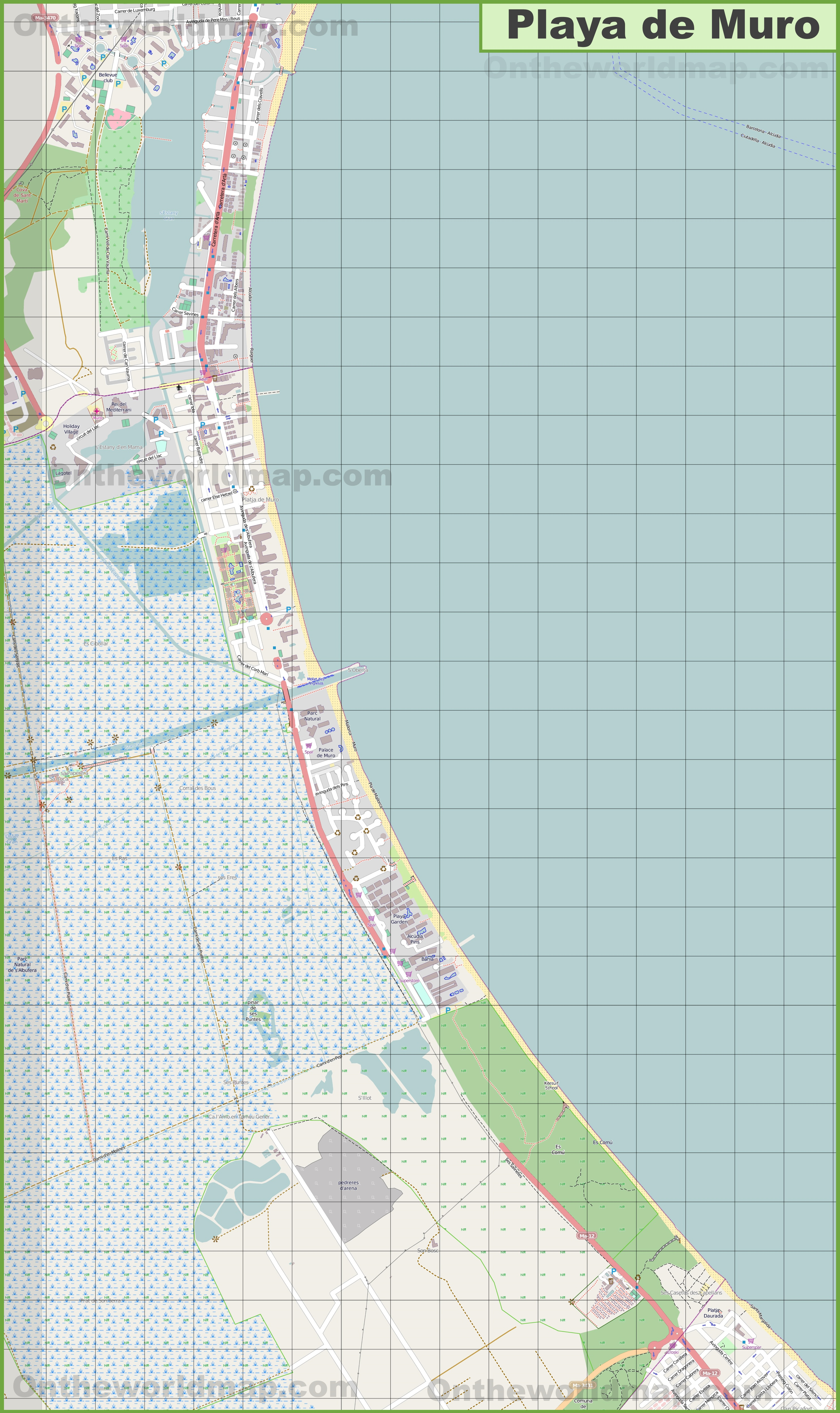 Large detailed map of Playa de Muro